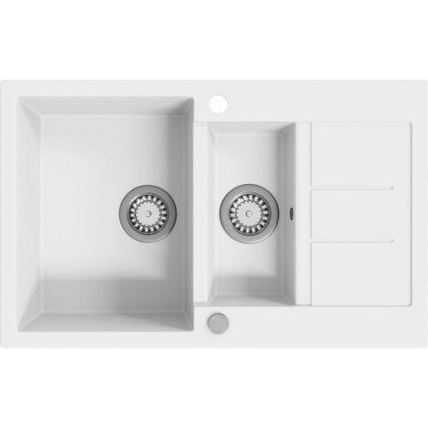 vidaXL Granite Kitchen Sink Double Basins White - White