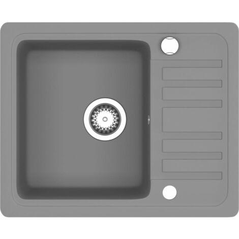 vidaXL Granite Kitchen Sink Single Basin Grey - Grey