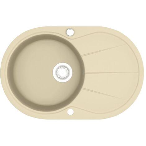 vidaXL Granite Kitchen Sink Single Basin Oval Beige - Beige