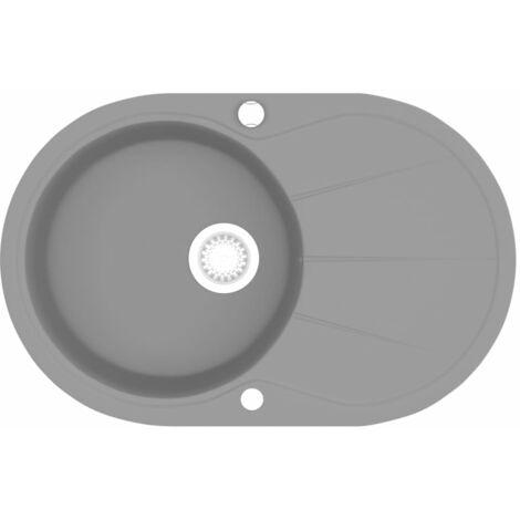 vidaXL Granite Kitchen Sink Single Basin Oval Grey - Grey