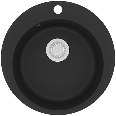 vidaXL Granite Kitchen Sink Single Basin Round Black - Black