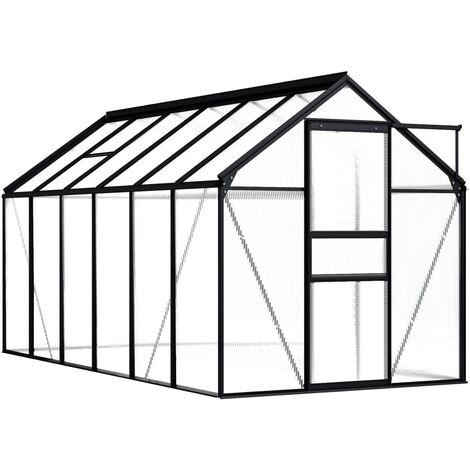 vidaXL Greenhouse Anthracite Aluminium 7.03 m² - Anthracite