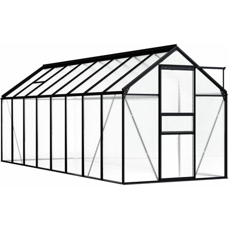 vidaXL Greenhouse Anthracite Aluminium 9.31 m² - Anthracite