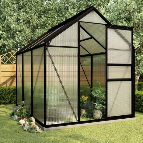 vidaXL Greenhouse with Base Frame Anthracite Aluminium 3.61 m² - Anthracite