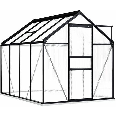 vidaXL Greenhouse with Base Frame Anthracite Aluminium 4.75 m² - Anthracite