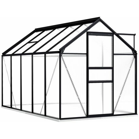 vidaXL Greenhouse with Base Frame Anthracite Aluminium 5.89 m² - Anthracite