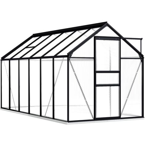 vidaXL Greenhouse with Base Frame Anthracite Aluminium 7.03 m² - Anthracite