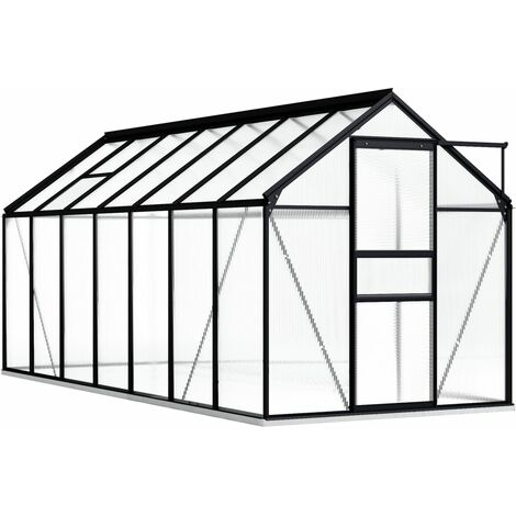 vidaXL Greenhouse with Base Frame Anthracite Aluminium 8.17 m² - Anthracite