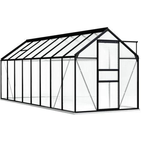 vidaXL Greenhouse with Base Frame Anthracite Aluminium 9.31 m² - Anthracite