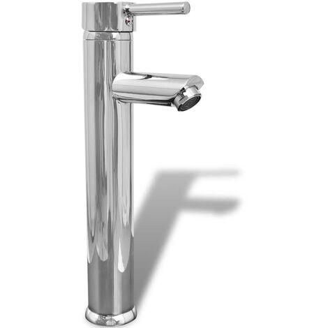 vidaXL Grifo mezclador de cuarto de baño latón - Plateado