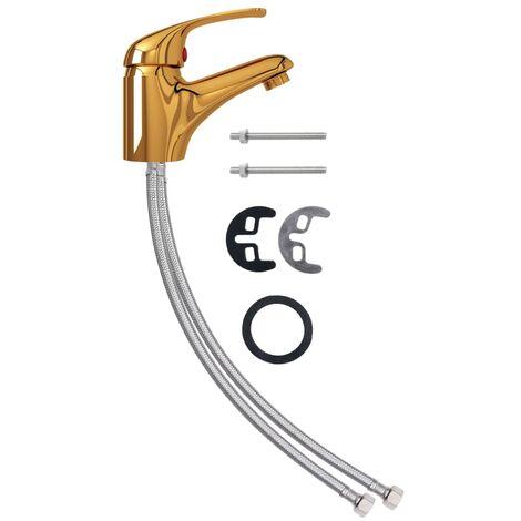 vidaXL Grifo mezclador de lavabo dorado 13x10 cm - Oro