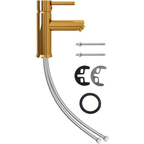 vidaXL Grifo para lavabo de baño acabado dorado 130x176 mm - Oro
