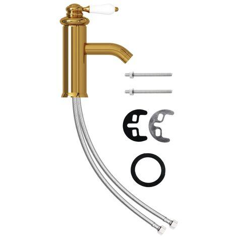 vidaXL Grifo para lavabo de baño dorado 130x180 mm - Oro