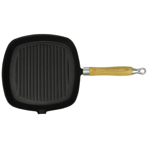 vidaXL Grill Pan with Wooden Handle Cast Iron 20x20 cm
