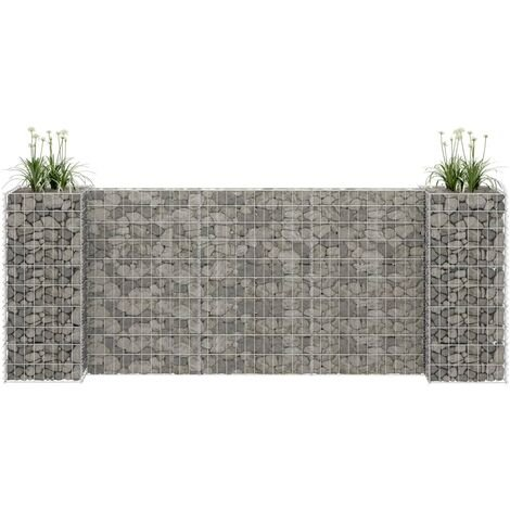 vidaXL H-Shaped Gabion Planter Steel Wire 260x40x100 cm - Silver