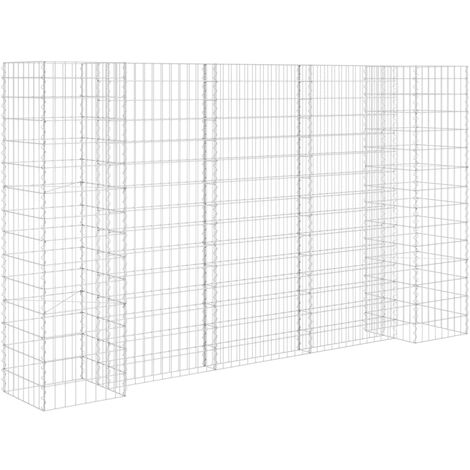 vidaXL H-Shaped Gabion Planter Steel Wire 260x40x150 cm - Silver