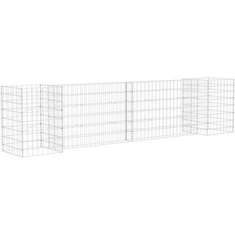 vidaXL H-Shaped Gabion Planter Steel Wire 260x40x60 cm - Silver