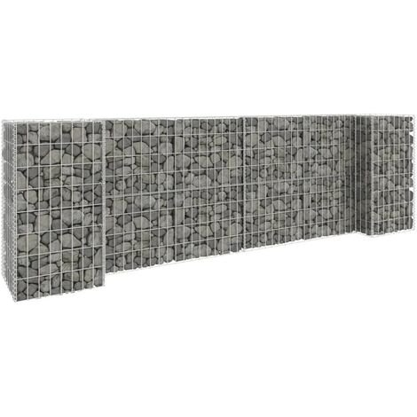 vidaXL H-Shaped Gabion Planter Steel Wire 260x40x80 cm - Silver