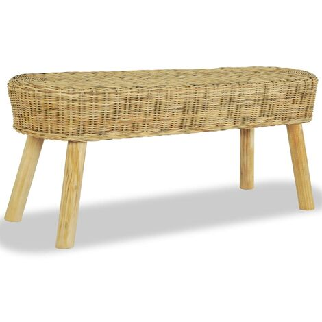 vidaXL Hall Bench Attractive Comfortable Solid Sturdy Durable Stable Living Room Home Seating Seat Furniture Natural Rattan 110/160x35x45cm