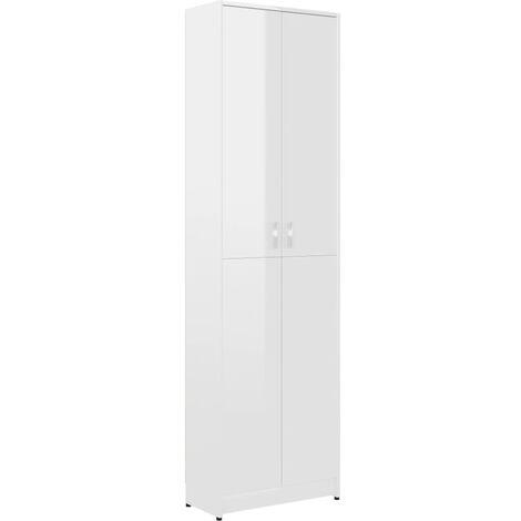vidaXL Hallway Wardrobe 55x25x189 cm Chipboard High Gloss Grey - Grey