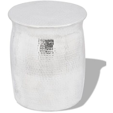 "main image of ""vidaXL Hammered Aluminium Stool/Side Table Silver - Silver"""