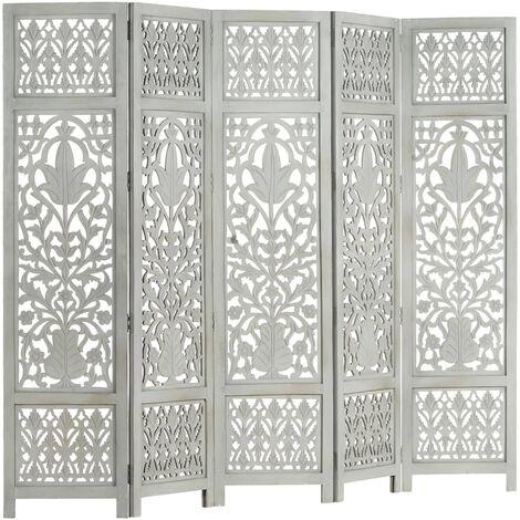 "main image of ""vidaXL Hand Carved 5-Panel Room Divider Grey 200x165 cm Solid Mango Wood - Grey"""