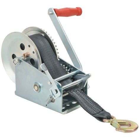 """main image of """"vidaXL Hand Winch with Strap 1360 kg - Silver"""""""