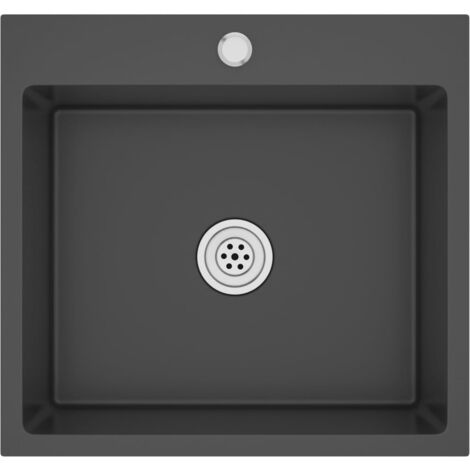 vidaXL Handmade Kitchen Sink with Faucet Hole Black Stainless Steel - Black