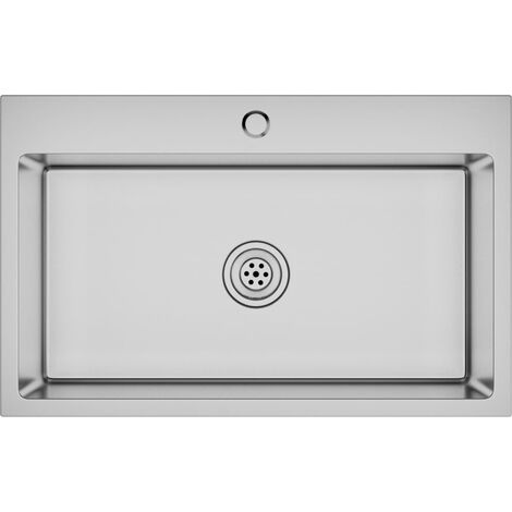 vidaXL Handmade Kitchen Sink with Faucet Hole Stainless Steel - Silver