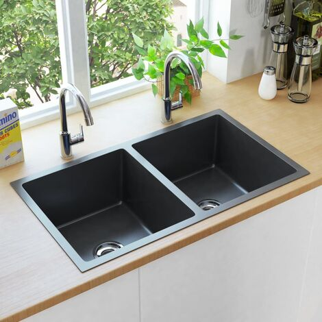 vidaXL Handmade Kitchen Sink with Strainer Black Stainless Steel - Black