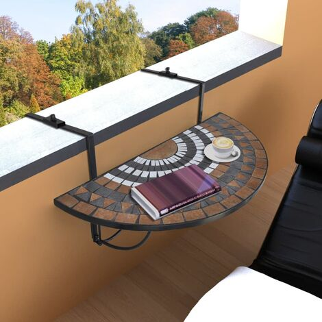 vidaXL Hanging Balcony Table Terracotta and White Mosaic - Brown