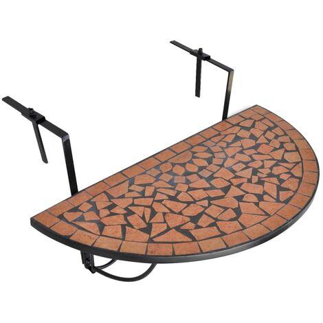 vidaXL Hanging Balcony Table Terracotta Mosaic - Brown
