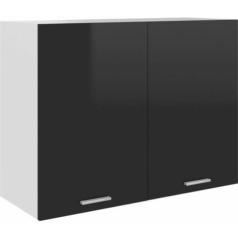 vidaXL Hanging Cabinet High Gloss Black 80x31x60 cm Chipboard - Black