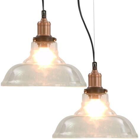 vidaXL Hanging Lamps 2 pcs Transparent Round 28 cm E27 - Transparent