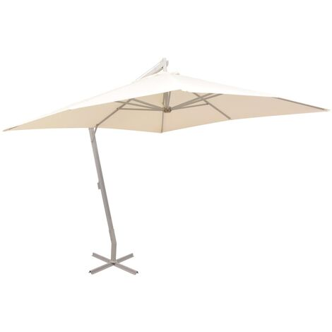 vidaXL Hanging Parasol 300x300 cm Aluminium Pole Outdoor Umbrella Green/Sand
