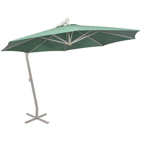 vidaXL Hanging Parasol 350 cm Aluminium Pole Outdoor Patio Umbrella Green/Sand