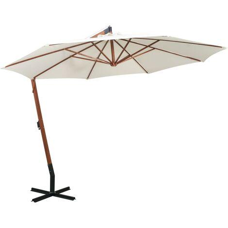 vidaXL Hanging Parasol 350 cm Wooden Pole Patio Umbrella Sunshade White/Green