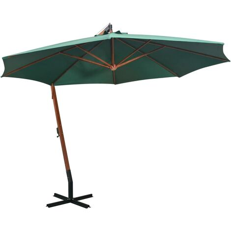 vidaXL Hanging Parasol 350 cm Wooden Pole Patio Umbrella Sunshade White/Green