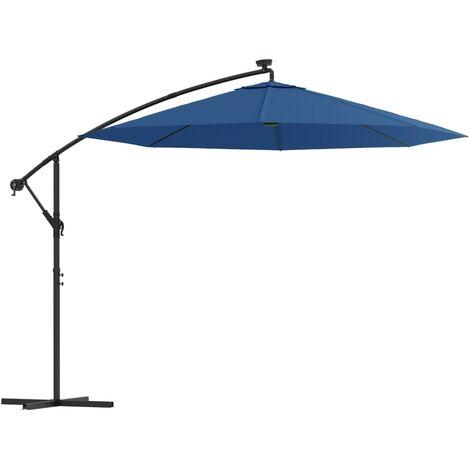 vidaXL Hanging Parasol with LED Lighting 300 cm Sand Metal Pole - Beige