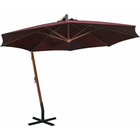 vidaXL Hanging Parasol with Pole Bordeaux Red 3.5x2.9 m Solid Fir Wood - Red