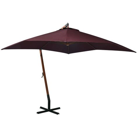 vidaXL Hanging Parasol with Pole Bordeaux Red 3x3 m Solid Fir Wood - Red