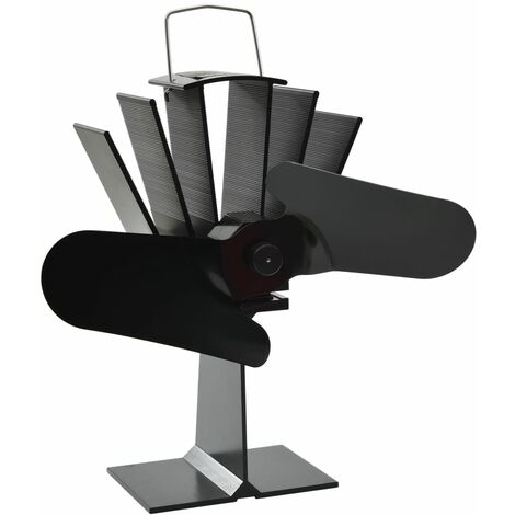 vidaXL Heat Powered Stove Fan 2 Blades Black - Black