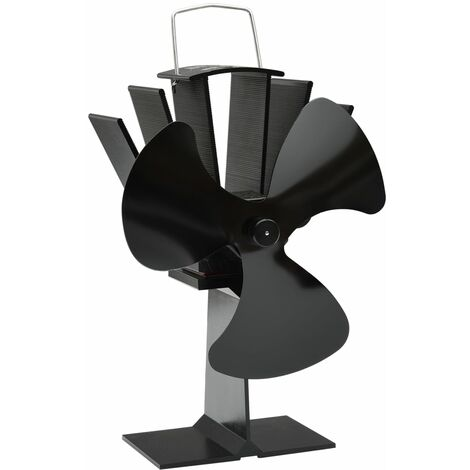 vidaXL Heat Powered Stove Fan 3 Blades Black - Black
