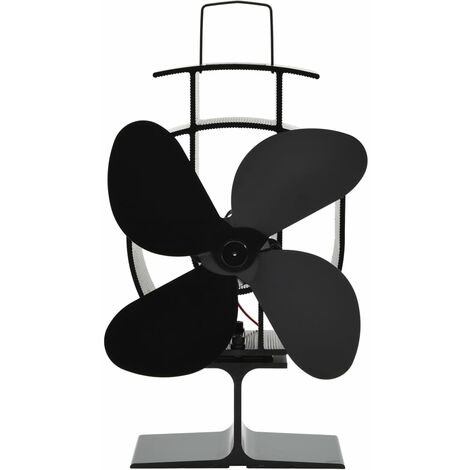 vidaXL Heat Powered Stove Fan 4 Blades Black - Black