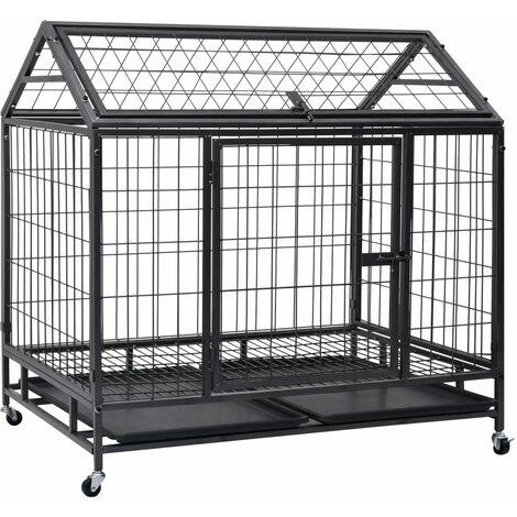 vidaXL Heavy Duty Dog Cage with Wheels Steel 98x98x72 cm - Grey