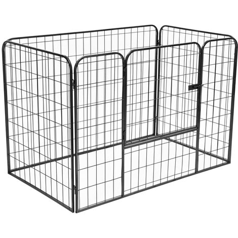 vidaXL Heavy Duty Dog Playpen Black 120x80x70 cm Steel - Black