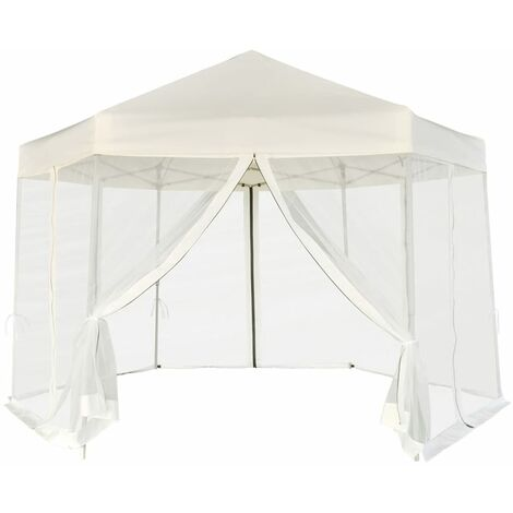 vidaXL Hexagonal Pop-Up Marquee with 6 Sidewalls Cream White 3.6x3.1 m - Cream
