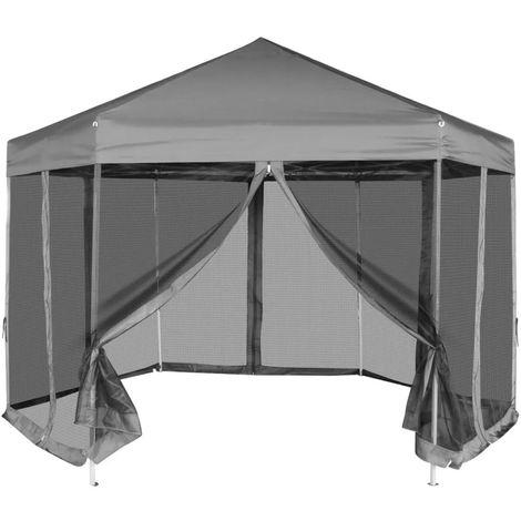 Hexagonal Pop-Up Marquee with 6 Sidewalls Grey 3.6x3.1 m