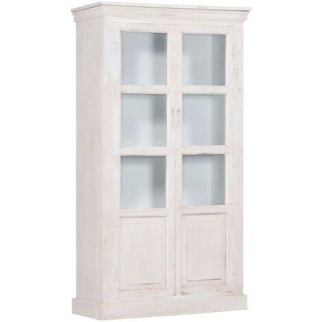 vidaXL Highboard 100x40x180 cm Solid Acacia Wood - White