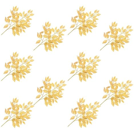 vidaXL Hojas artificiales de ficus 10 unidades dorado 65 cm - Oro